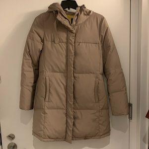 Long puffy coat, tan, Gap S